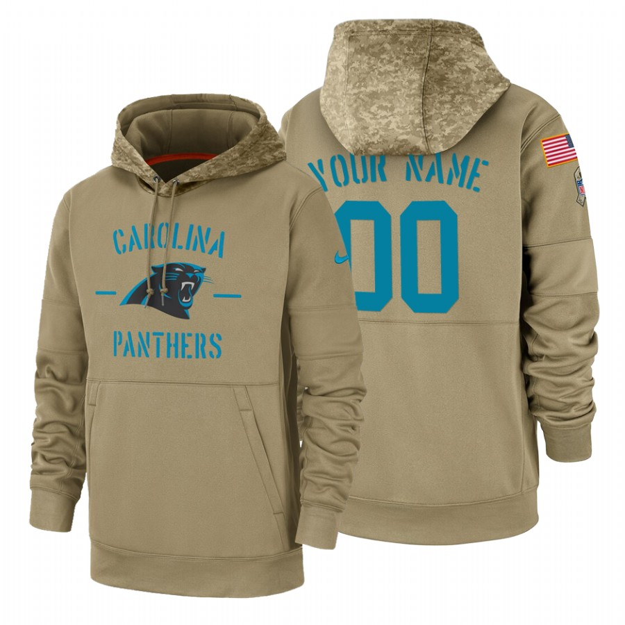 Carolina Panthers Custom Nike Tan 2019 Salute To Service Name & Number Sideline Therma Pullover Hoodie