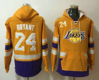 Men's Los Angeles Lakers #24 Kobe Bryant NEW Yellow Pocket Stitched NBA Pullover Hoodie