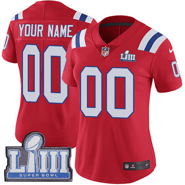 Women's Customized New England Patriots Vapor Untouchable Super Bowl LIII Bound Limited Red Nike NFL AlternateJersey