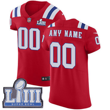 Men's Customized New England Patriots Vapor Untouchable Super Bowl LIII Bound Elite Red Nike NFL Alternate Jersey