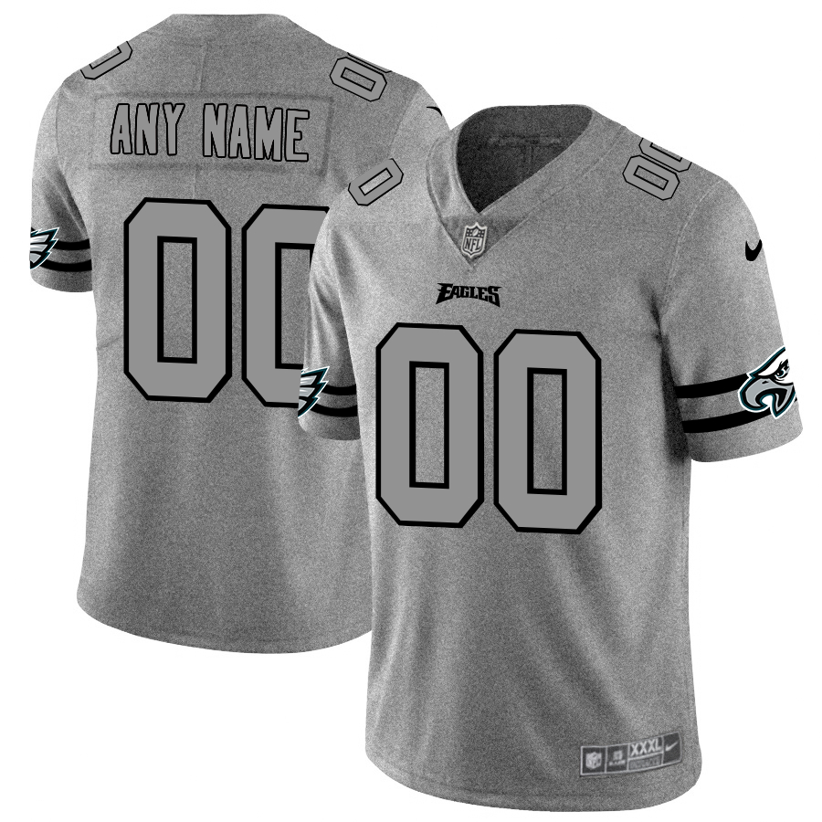 Nike Eagles Customized 2019 Gray Gridiron Gray Vapor Untouchable Limited Jersey