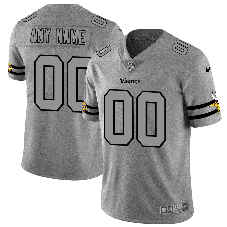 Nike Vikings Customized 2019 Gray Gridiron Gray Vapor Untouchable Limited Jersey