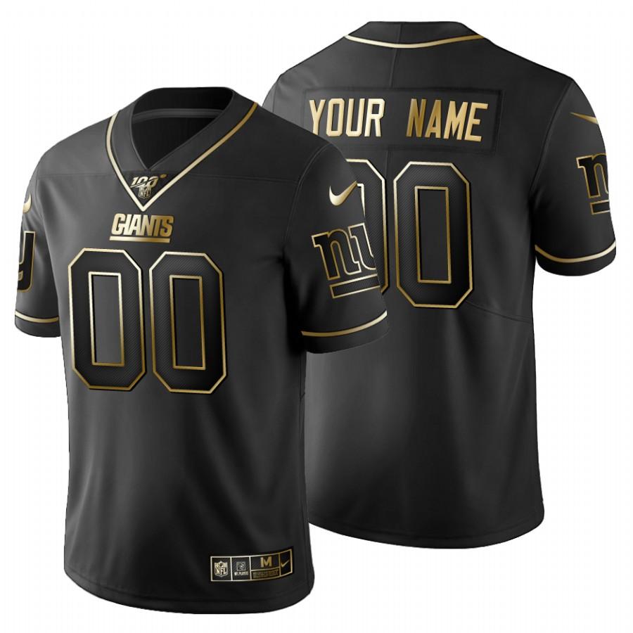 New York Giants Custom Men's Nike Black Golden Limited NFL 100 Jersey