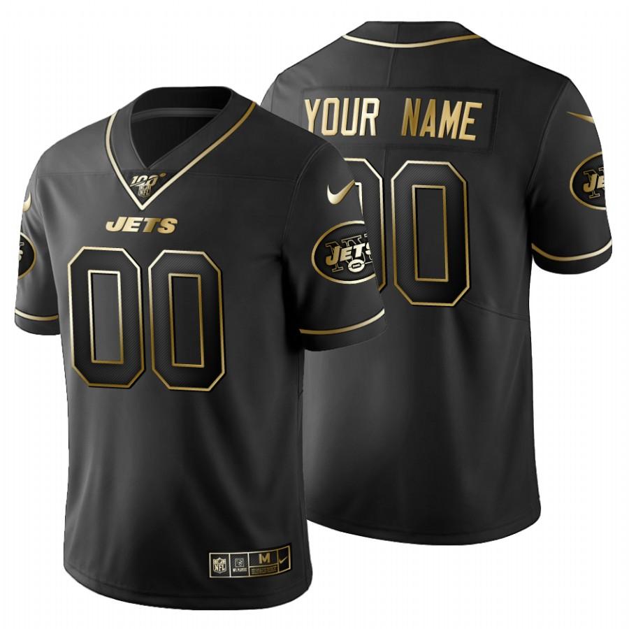 New York Jets Custom Men's Nike Black Golden Limited NFL 100 Jersey