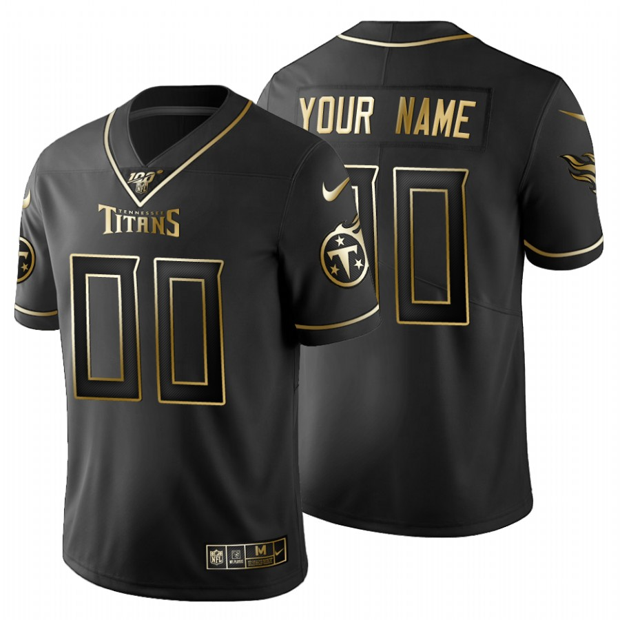 Tennessee Titans Custom Men's Nike Black Golden Limited NFL 100 Jersey
