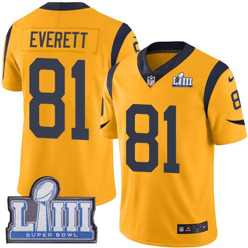 #81 Limited Gerald Everett Gold Nike NFL Men's Jersey Los Angeles Rams Rush Vapor Untouchable Super Bowl LIII Bound