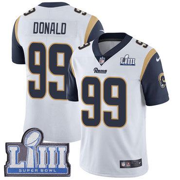 #99 Limited Aaron Donald White Nike NFL Road Men's Jersey Los Angeles Rams Vapor Untouchable Super Bowl LIII Bound