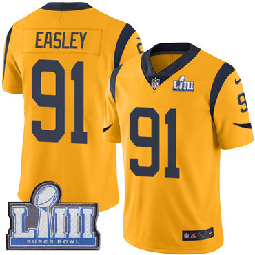 #91 Limited Dominique Easley Gold Nike NFL Men's Jersey Los Angeles Rams Rush Vapor Untouchable Super Bowl LIII Bound