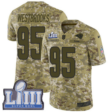 #95 Limited Ethan Westbrooks Camo Nike NFL Men's Jersey Los Angeles Rams 2018 Salute to Service Super Bowl LIII Bound