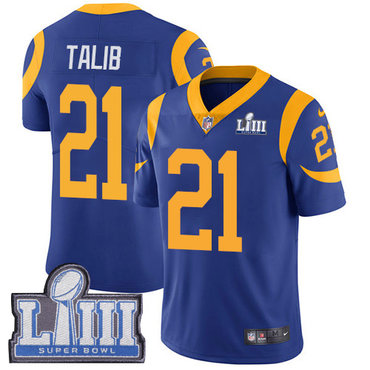 #21 Limited Aqib Talib Royal Blue Nike NFL Alternate Men's Jersey Los Angeles Rams Vapor Untouchable Super Bowl LIII Bound
