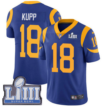 #18 Limited Cooper Kupp Royal Blue Nike NFL Alternate Men's Jersey Los Angeles Rams Vapor Untouchable Super Bowl LIII Bound
