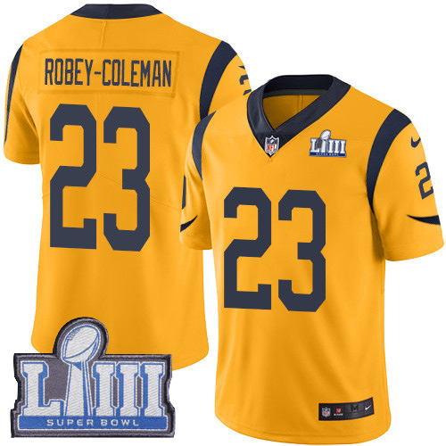 #23 Limited Nickell Robey-Coleman Gold Nike NFL Men's Jersey Los Angeles Rams Rush Vapor Untouchable Super Bowl LIII Bound