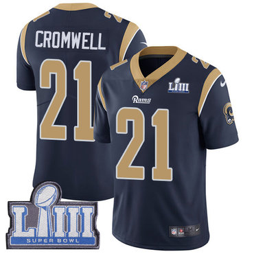 #21 Limited Nolan Cromwell Navy Blue Nike NFL Home Men's Jersey Los Angeles Rams Vapor Untouchable Super Bowl LIII Bound