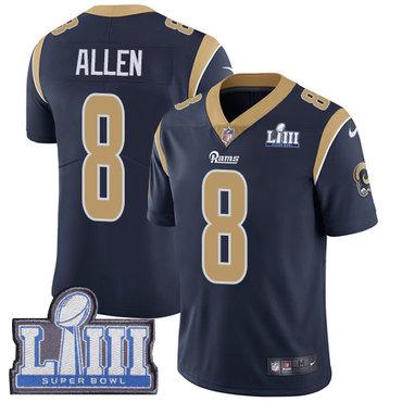 Men's Los Angeles Rams #8 Brandon Allen Navy Blue Nike NFL Home Vapor Untouchable Super Bowl LIII Bound Limited Jersey