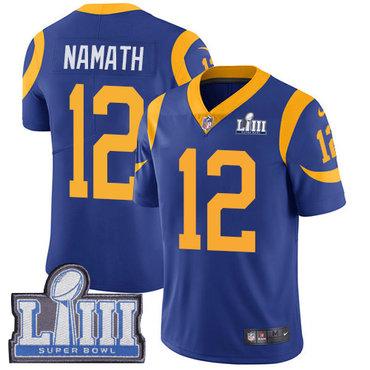 Men's Los Angeles Rams #12 Joe Namath Royal Blue Nike NFL Alternate Vapor Untouchable Super Bowl LIII Bound Limited Jersey