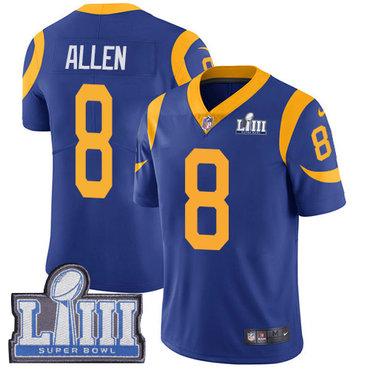 Men's Los Angeles Rams #8 Brandon Allen Royal Blue Nike NFL Alternate Vapor Untouchable Super Bowl LIII Bound Limited Jersey