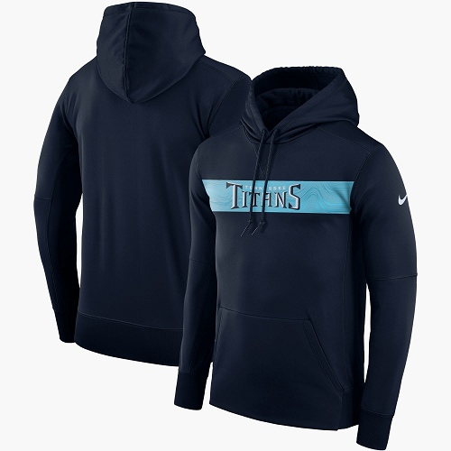 Men's Tennessee Titans Nike Navy Sideline Team Performance Pullover Hoodie