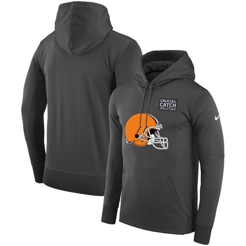 NFL Men's Cleveland Browns Nike Anthracite Crucial Catch Performance Pullover Hoodie