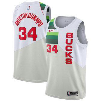 Men's Milwaukee Bucks 34 Giannis Antetokounmpo Nike White 2018-19 Swingman Earned Edition Jersey