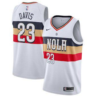 Men's New Orleans 23 Pelicans Anthony Davis Nike White 2018-19 Swingman Earned Edition Jersey