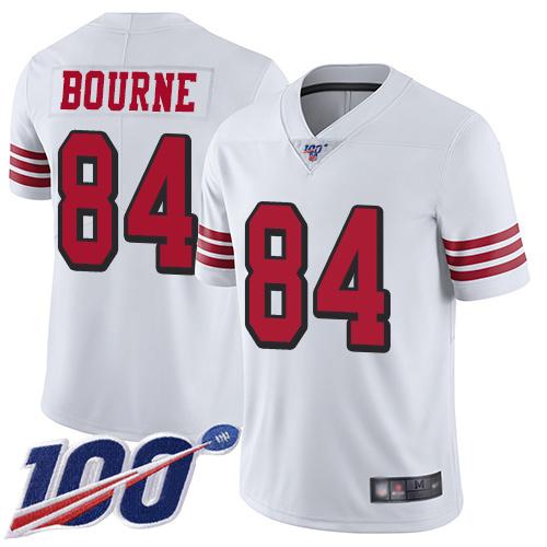 San Francisco 49ers Youth #84 Kendrick Bourne White Limited 100th Season Color Rush Vapor Untouchable Jersey