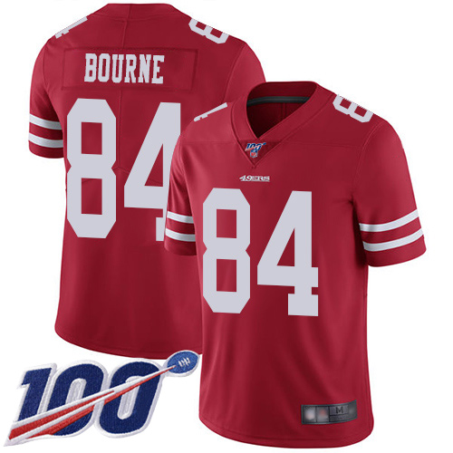 San Francisco 49ers Youth #84 Kendrick Bourne Red Limited Home 100th Season Vapor Untouchable Jersey