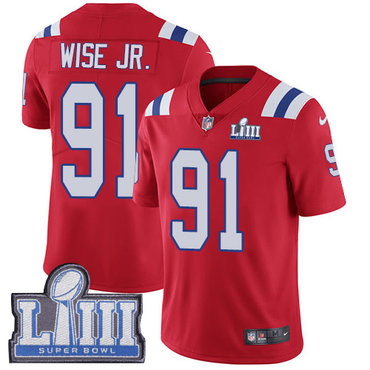 #91 Limited Deatrich Wise Jr Red Nike NFL Alternate Men's Jersey New England Patriots Vapor Untouchable Super Bowl LIII Bound