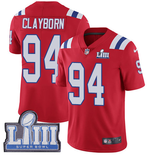 #94 Limited Adrian Clayborn Red Nike NFL Alternate Men's Jersey New England Patriots Vapor Untouchable Super Bowl LIII Bound