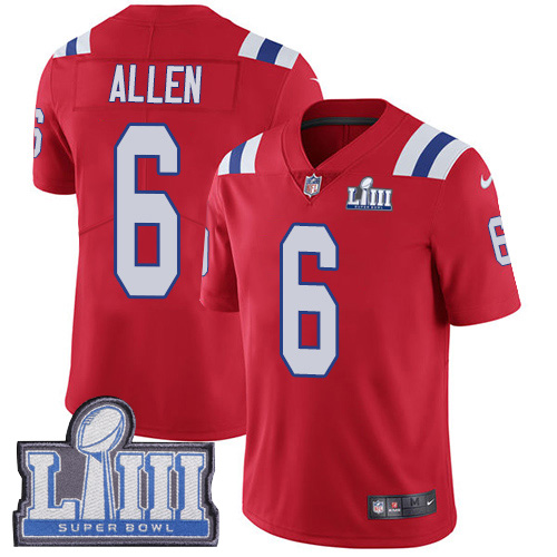 #6 Limited Ryan Allen Red Nike NFL Alternate Men's Jersey New England Patriots Vapor Untouchable Super Bowl LIII Bound