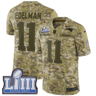 Men's New England Patriots #11 Julian Edelman Camo Nike NFL 2018 Salute to Service Super Bowl LIII Bound Limited Jersey