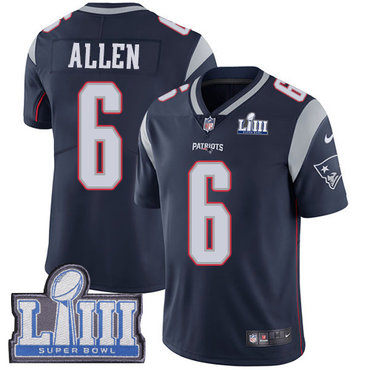 Men's New England Patriots #6 Ryan Allen Navy Blue Nike NFL Home Vapor Untouchable Super Bowl LIII Bound Limited Jersey