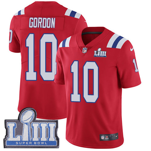 Men's New England Patriots #10 Josh Gordon Red Nike NFL Alternate Vapor Untouchable Super Bowl LIII Bound Limited Jersey