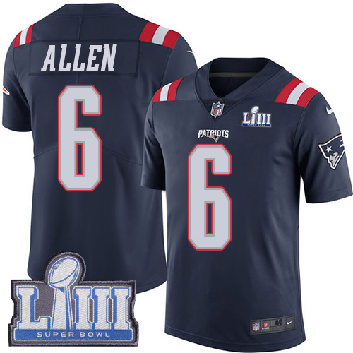 Men's New England Patriots #6 Ryan Allen Navy Blue Nike NFL Rush Vapor Untouchable Super Bowl LIII Bound Limited Jersey