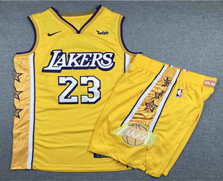 Men's Los Angeles Lakers #23 LeBron James Yellow 2020 Nike City Edition Swingman Jersey With Shorts