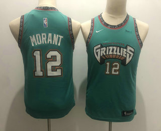 Youth Memphis Grizzlies #12 Ja Morant Green Nike 2019 ABA Hardwood Classics Green Throwback Swingman Jersey With The Sponsor Logo