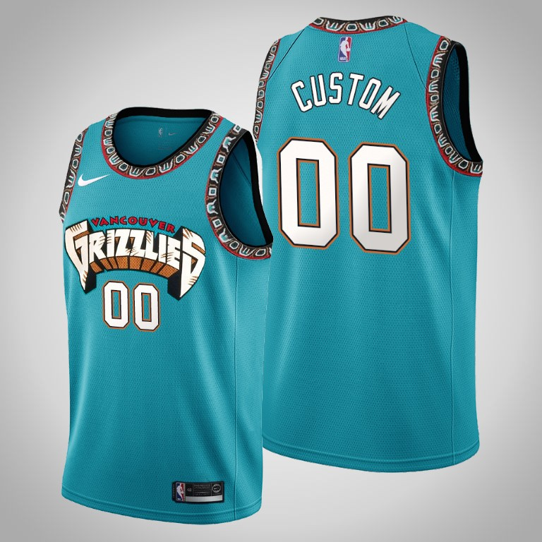 Grizzlies Custom #00 Teal 25th Season Vancouver Throwbacks Jersey