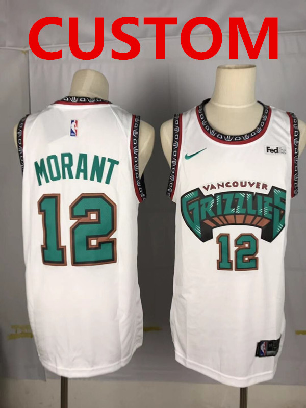 Custom Grizzlies White Nike Throwbacks Swingman Jersey