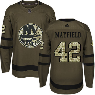 Men's New York Islanders #42 Scott Mayfield Adidas Green Authentic Salute To Service NHL Jersey