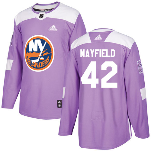 Men's New York Islanders #42 Scott Mayfield Adidas Purple Authentic Fights Cancer Practice NHL Jersey