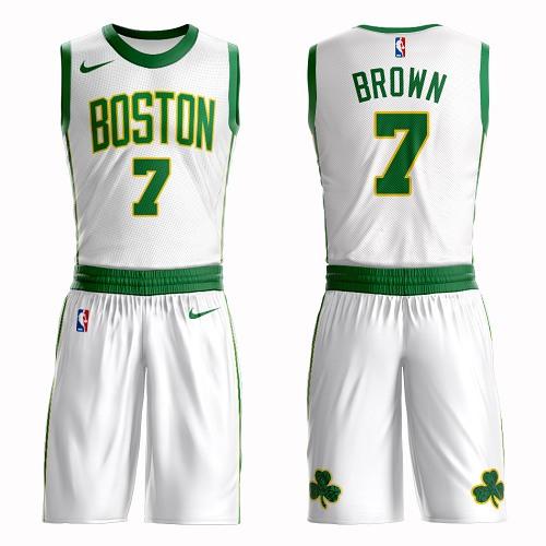 Boston Celtics #7 Jaylen Brown White Nike NBA Men's City Authentic Edition Suit Jersey