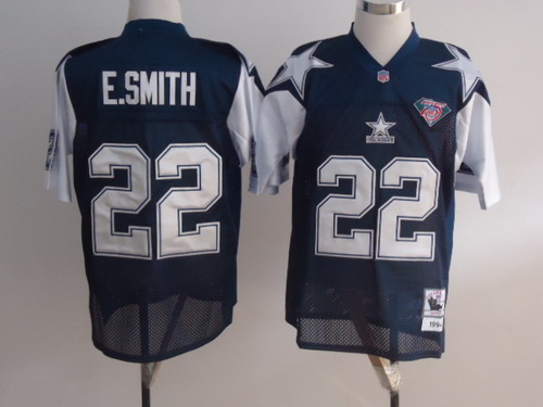 Size 8XL Dallas Cowboys #22 Emmitt Smith Blue Thanksgiving 75TH Throwback Jersey