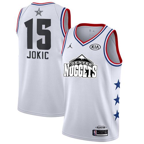 Nuggets #15 Nikola Jokic White Basketball Jordan Swingman 2019 All-Star Game Jersey