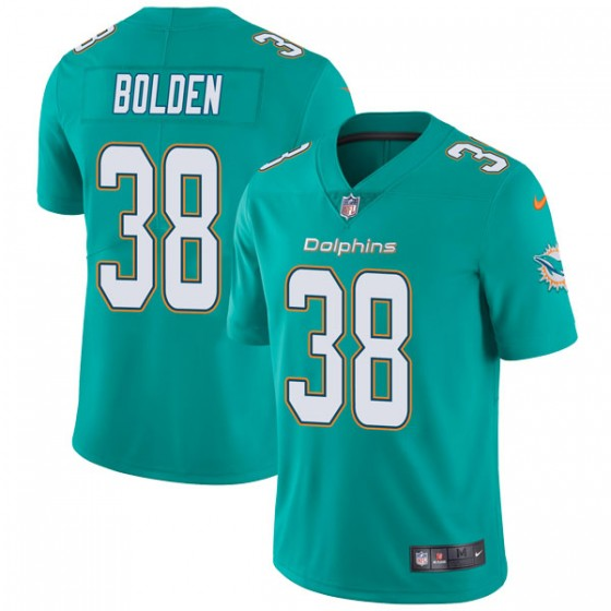 Men's Miami Dolphins #38 Brandon Bolden Nike Limited Team Color Vapor Untouchable Aqua Jersey