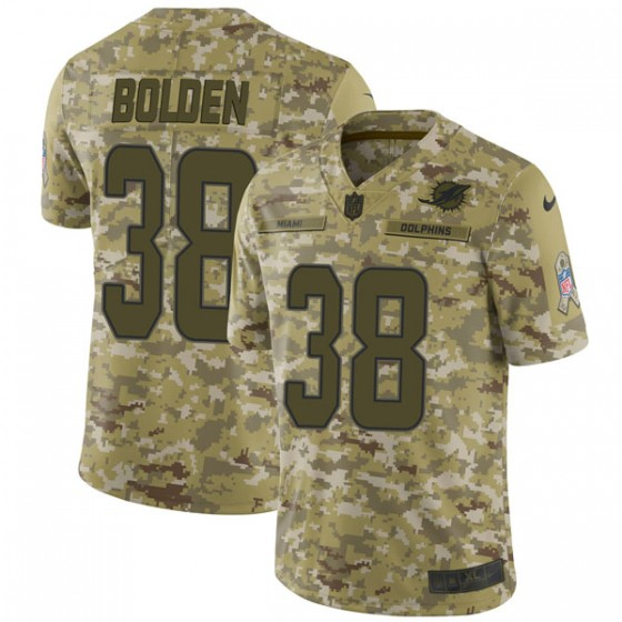 Men's Miami Dolphins #38 Brandon Bolden Nike Limited 2018 Salute to Service Camo Jersey