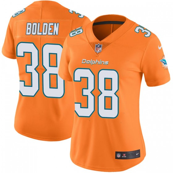 Women's Miami Dolphins #38 Brandon Bolden Nike Limited Color Rush Orange Jersey