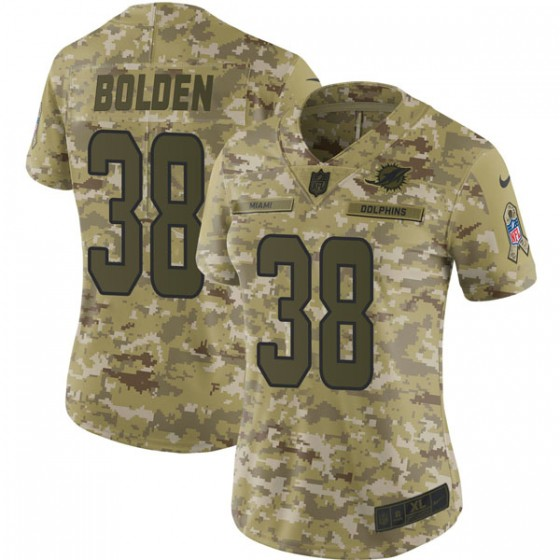 Women's Miami Dolphins #38 Brandon Bolden Nike Limited 2018 Salute to Service Camo Jersey