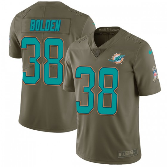 Youth Miami Dolphins #38 Brandon Bolden Nike Limited 2017 Salute to Service Green Jersey
