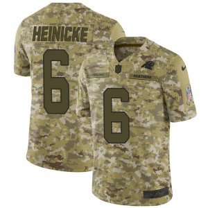 Men's Nike Carolina Panthers #6 Taylor Heinicke Limited Camo 2018 Salute to Service Jersey