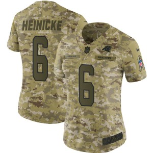 Women's Carolina Panthers Nike #6 Taylor Heinicke Limited Camo 2018 Salute to Service Jersey