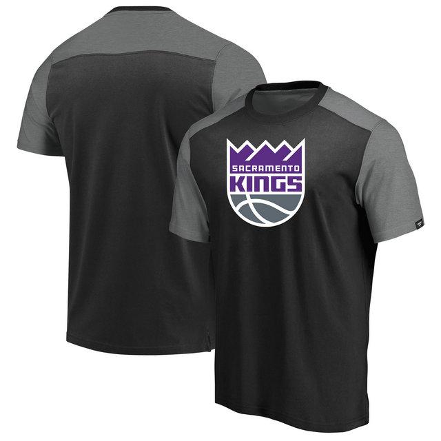 Sacramento Kings Iconic Blocked T-Shirt - BlackHeathered Gray